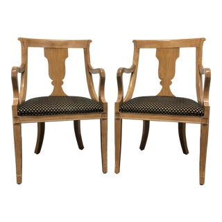 Empire Regency Style Dining Armchairs Attributed to Councill - Pair 2 For Sale