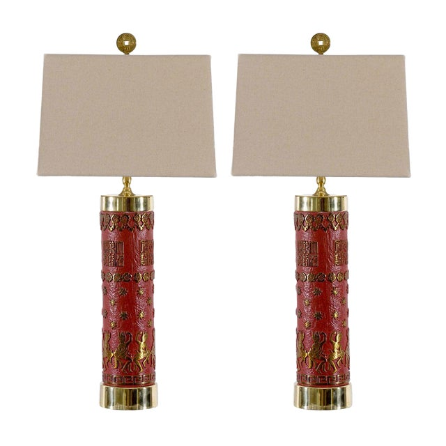 Fantastic Pair of Vintage Enamel and Brass Lamps For Sale