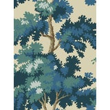 Image of Sample, Scalamandre Raphael, Dark Blue Wallpaper For Sale