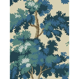 Sample, Scalamandre Raphael, Dark Blue Wallpaper For Sale