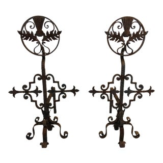 Hand Wrought Iron Fireplace Andirons - a Pair For Sale