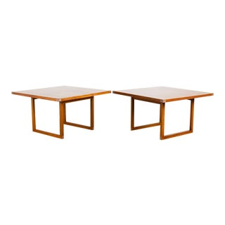 Rud Thygessen Danish Teak and Aluminum Tables, a Pair For Sale