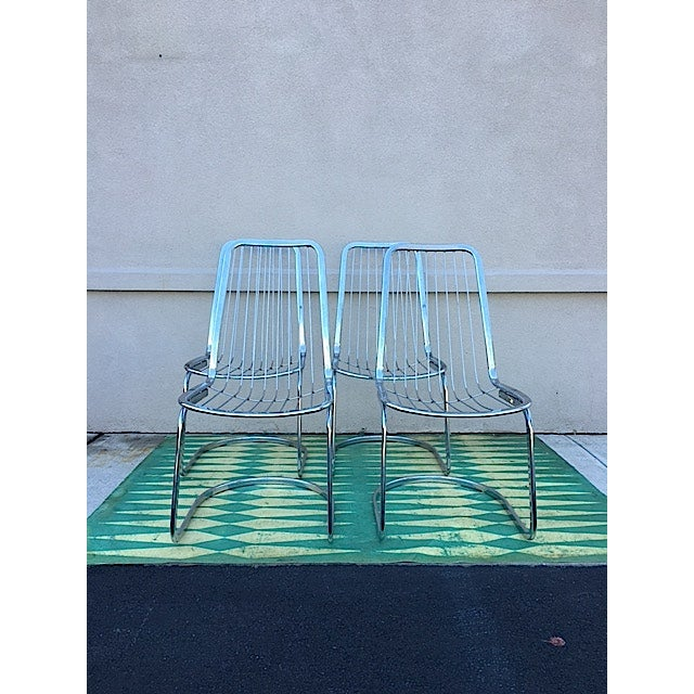 Cidue Vincenca Chrome Wire Chairs - Set of 4 - Image 2 of 5