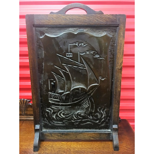 Vintage Nautical Decor Sale: Antique Embossed Copper Nautical Fireplace Screen