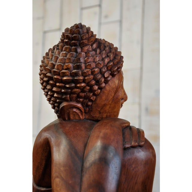 Hand Carved Thinking Buddha Statue Suar Wood Sculpture Bali Art For Sale - Image 9 of 11