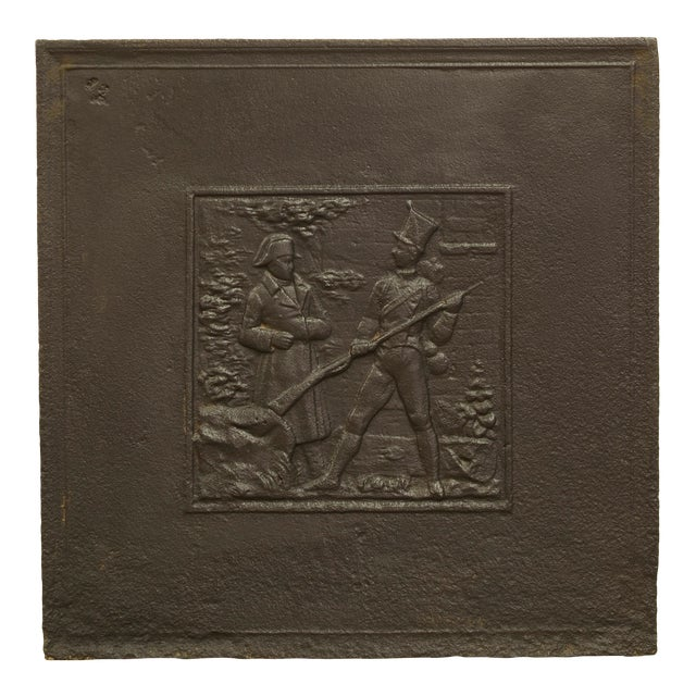 Antique Fireback Showing Napoleon on the Battlefield For Sale