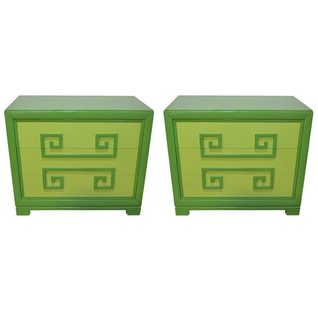Green Kittinger Two-Tone Greek Key Chests - A Pair For Sale - Image 9 of 9
