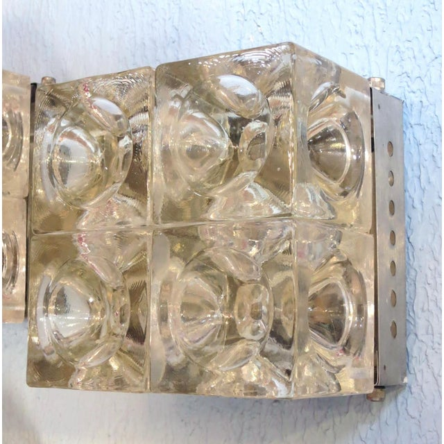 Contemporary Italian Murano Glass Cube Sconces / Flush Mounts by Poliarte - a Pair For Sale - Image 3 of 11