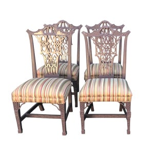 Hollywood Regency Style Chinese Chippendale Lilac Dining Chairs - Set of 4 For Sale