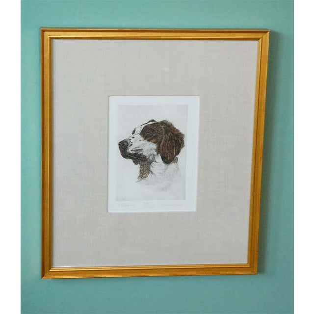 Colored Etching of Whippet Hunting Dog For Sale - Image 4 of 8