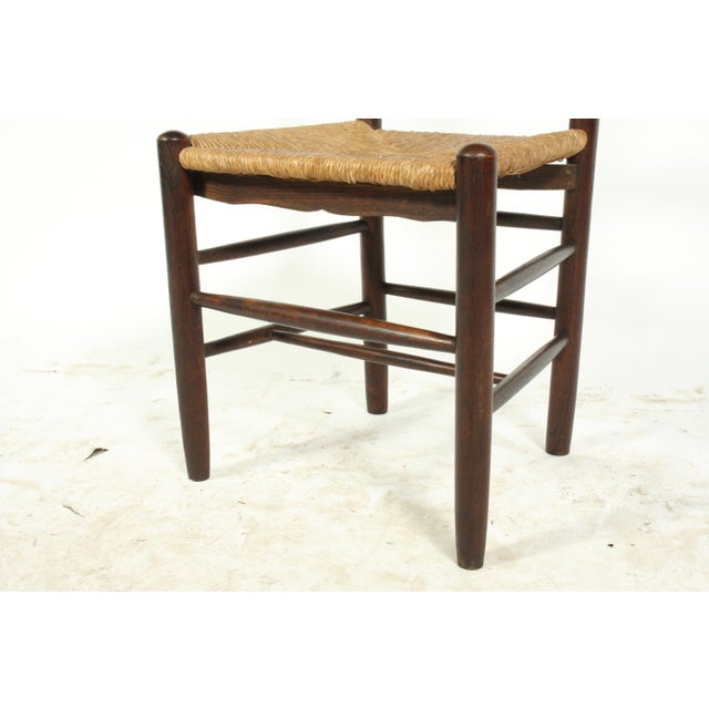 Brown Six French Farmhouse-Style Oak Ladder Back Dining Chairs With Rush Seats For Sale - Image 8 of 12