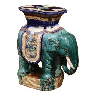 Early 20th Century French Faience Hand Painted Elephant Garden Seat For Sale