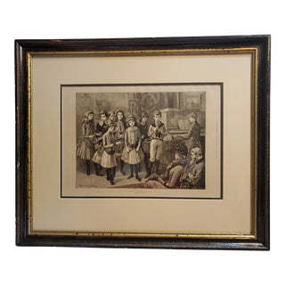 """Evard Hopkins """"Toy Symphony"""" Victorian Etching Print For Sale"""