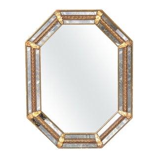 Italian Octagonal Marbleized Framed Mirror