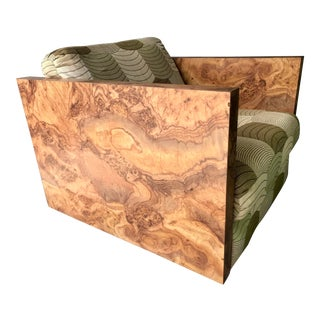 Milo Baughman Style Faux Burl Wood Cube Lounge Chair For Sale