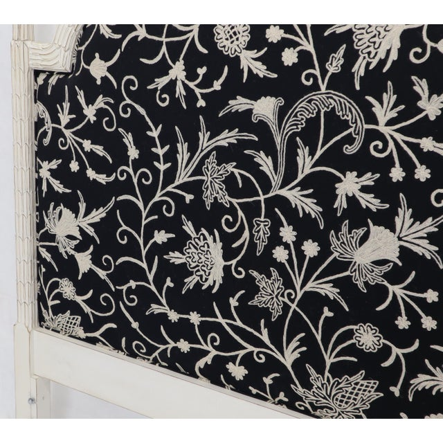 Upholstered Decorative Black and White Fabric King Size Poster Headboard For Sale - Image 10 of 12