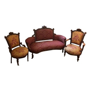 Antique Victorian Parlor Sofa & Chairs - Set of 3 For Sale