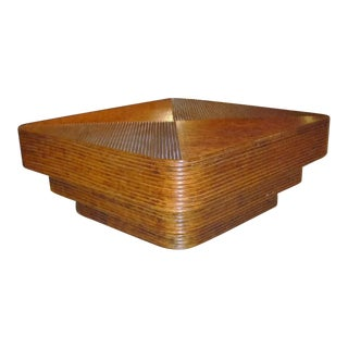 Paul Frankl Style Monumental Three Tier Multi-Band Rattan Coffee Table
