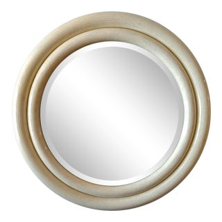 Karl Springer, Tessellated Bone Double Framed Round Bevel Mirror For Sale