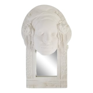 1980s Figurative Marc Sijan Surrealist Female Wall Art Pottery Sculpture With Mirror For Sale