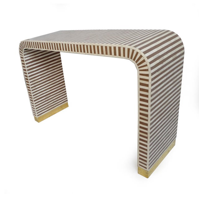 Inlay Striped Waterfall Console Table Brown For Sale - Image 4 of 6