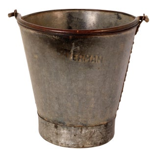 Antique Galvanized Riveted Bucket For Sale