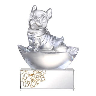 """Liuli Crystal Art Crystal Dog """"Heads Up!"""" (Exclusive American Edition With Gilded Peony Display Base) For Sale"""