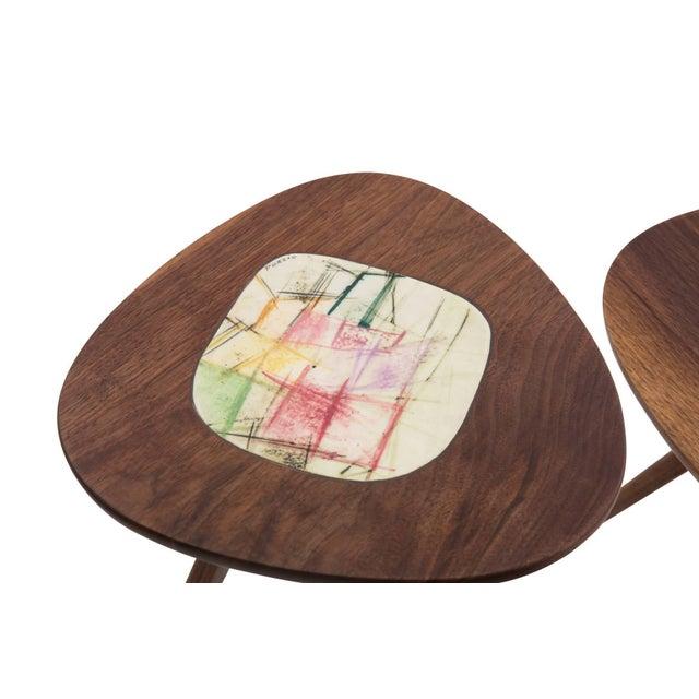 2010s Four Lee Porzio & Allen Ditson Walnut Ceramic Side Tables For Sale - Image 5 of 11