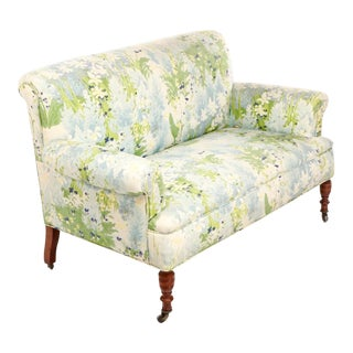 French 1940s Floral Upholstered Settee For Sale