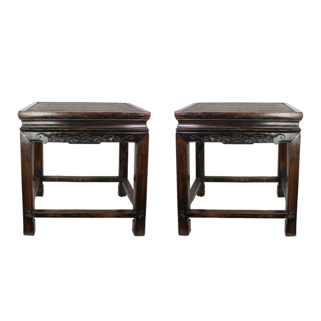 Wood 19th Century Antique Hand Carved Chinoiserie Wooden End Tables or Nightstands - a Pair For Sale - Image 7 of 7