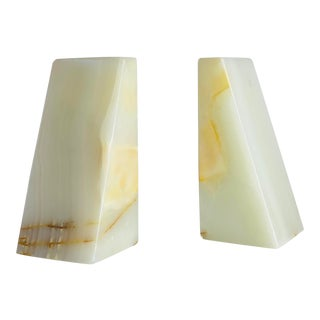 1970s Vintage Modern White Onyx Marble Bookends – a Pair For Sale