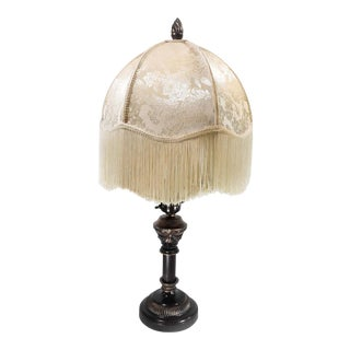Victorian Style Lamp With Long Fringe Tapestry Shade For Sale