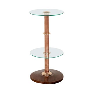 French Art Deco Round Glass, Brass, and Copper Drink Occasional or Side Table For Sale