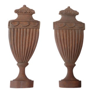 Architectural Classical Urn Carvings - a Pair For Sale