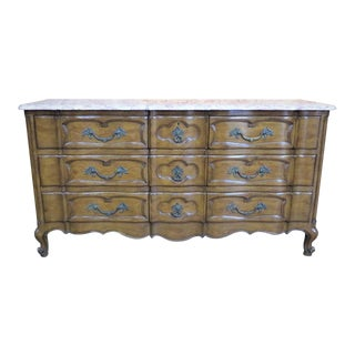 Walnut French Style Marble Top Dresser For Sale