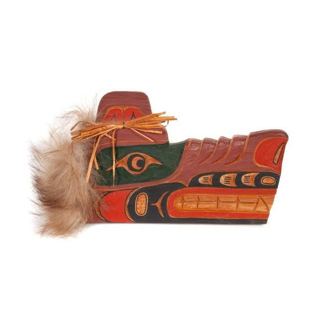 Cecil Dawson Native Northwest Grizzly Bear Painted Wood Carving, Signed For Sale - Image 13 of 13