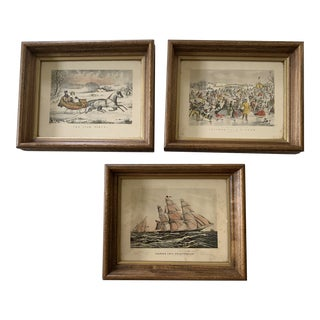 Late 20th Century Figurative Landscape Currier and Ives Reproduction Prints, Framed - Set of 3 For Sale