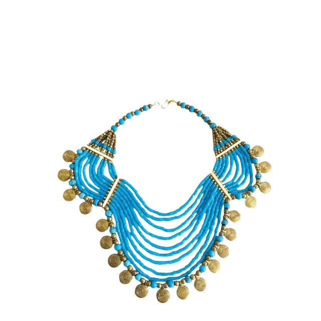 Vintage Beaded Turquoise Style Necklace With Faux Gold Metal Coins For Sale