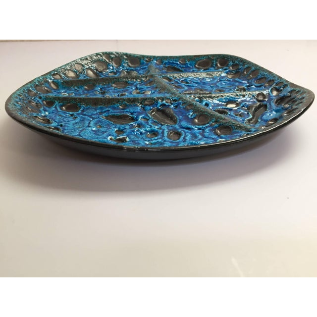 Ceramic Vintage French Set of Three Glazed Painted Stoneware Plates in Blue Lava, 1970s For Sale - Image 7 of 11