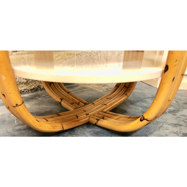 Mid-Century Modern Wood and Bamboo Round Side Table For Sale - Image 3 of 5