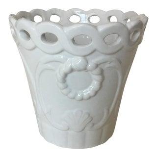 1990s Vintage Portuguese Porcelain Cachepot