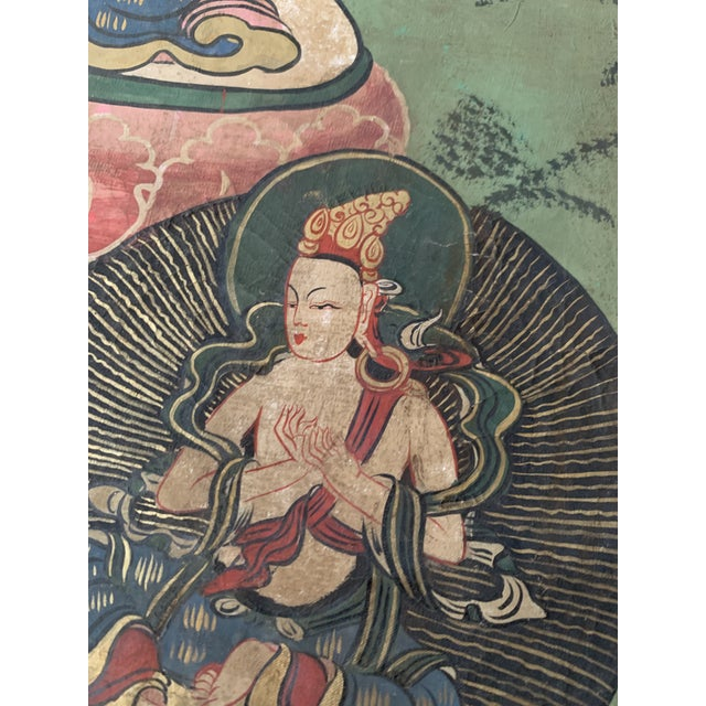 Asian Early 20th Century Tibetan Ceremonial Thangka Painting For Sale - Image 3 of 4