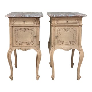 Pair 19th Century Liegoise Stripped Oak Marble Top Nightstands For Sale