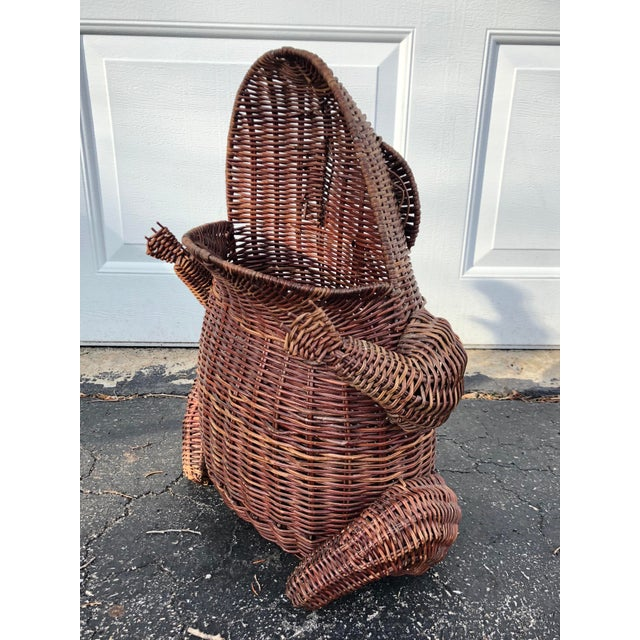 1970s Boho Chic Wicker Wide Mouth Frog Basket For Sale - Image 10 of 10
