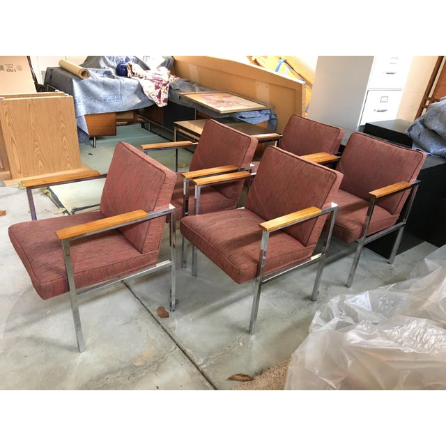 1960's Mid-Century Modern Chrome & Walnut Armchairs - Set of 6 For Sale - Image 9 of 9