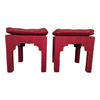 Mid Century Moroccan Style Tufted Stools - A Pair