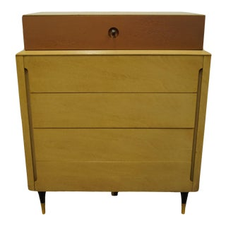 """Basic Witz Furniture Mid Century Modern Two Toned 38"""" Chest of Drawers 225-41 For Sale"""