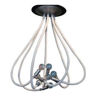 Custom Leather Wrapped Chandelier with Adjustable Arms For Sale