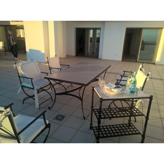 Patio or Garden Dining Room Table in Wrought Iron With Glass Top For Sale - Image 4 of 7
