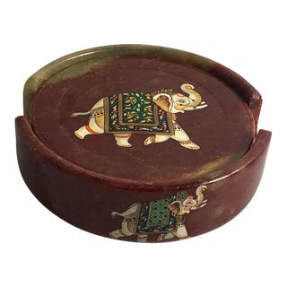 Vintage Elephant Design Onyx Coaster Set For Sale